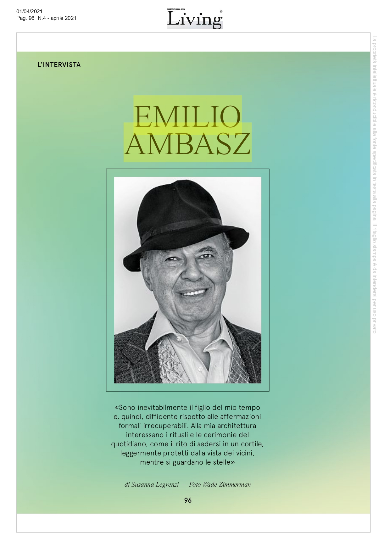 Living intervista Emilio Ambasz